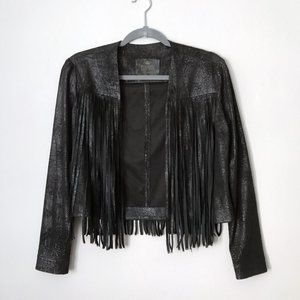 Fringe Black Jacket Metallic Vegan Leather by SW3